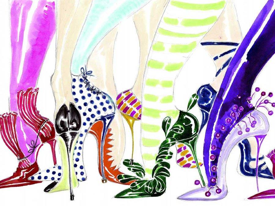 Manolo Blahnik Art Illustration Tacones altos